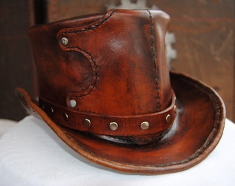 Hand-made leather top hat - choose your size