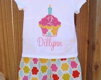 Personalized Birthday Ruffled Capri Pants and Shirt set-  Cupcake Birthday Set- Birthday outfit- Applique Birthday Set