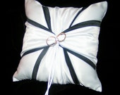 White or Ivory Wedding Ring Bearer Pillow Black Accent