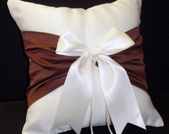 Ivory or White & Chocolate Brown Wedding Ring Bearer Pillow