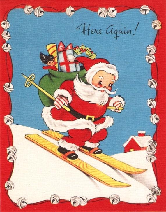 Christmas Toys Cards : Vintage christmas card santa claus snow skis toys