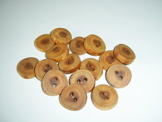 "16 Handmade  wild cherry wood buttons, accessories (0,79"" diameter x 0,20"" thick)"