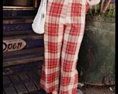 vintage 60s plaid pants mod high waist pink capri M