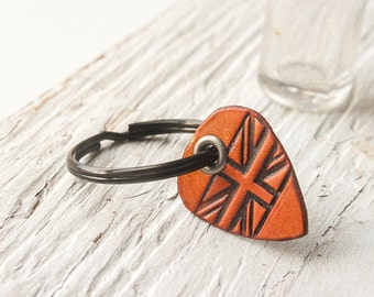 British Flag Leather Guitar Pick - key chain - hand cut - pick your stain color and flag type - Australian, Canadian or English flag
