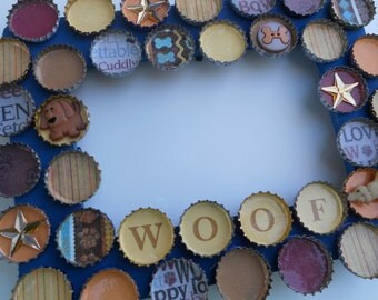 Woof  Dog Bottle Cap Picture Frame