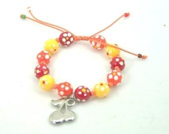 Cherry  shambala bracelet