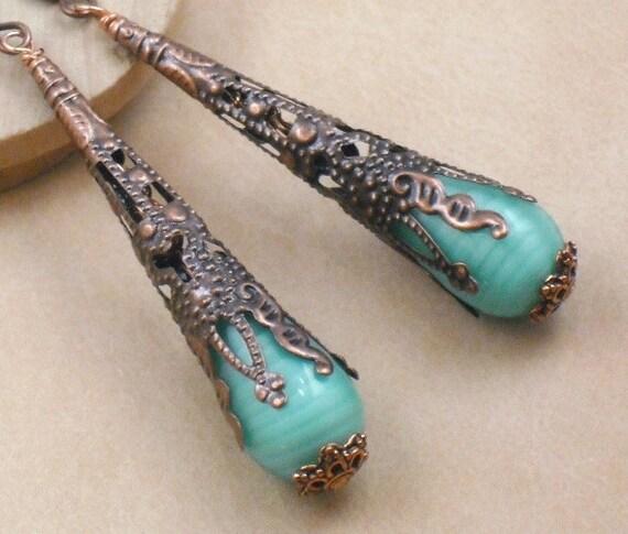Earrings Sea Foam Green Teardrop in Long Filigree Copper Cones Reserved for Helene