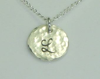Personalized Necklace,Sterling Silver Cursive Initial Necklace,Hammered Finish