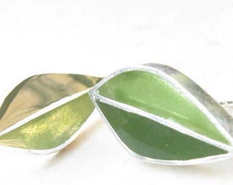 Olive Green Earrings Post Earrings Leaves Earrings Sterling Silver Earrings