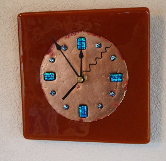 fused glass copper wall clock caramel color by fireflysg