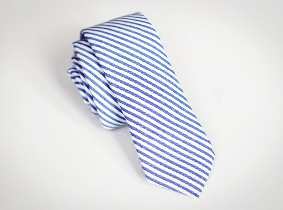 Sebastian - Blue/White Stripe Cotton Men's Tie