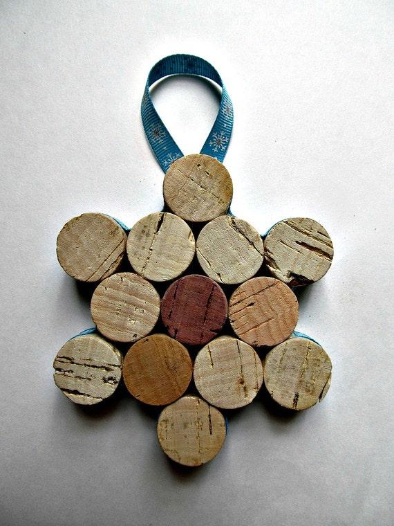 Cork Snowflake Ornament Wine Bottle By Lizziejoedesigns