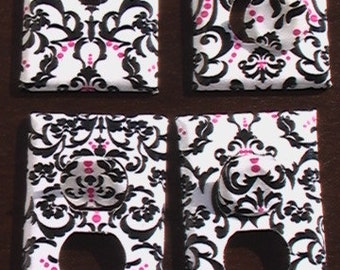 Damask Set Pink and Black on White Light Switch Toggle Cover Plate and 3 Outlets Set includes child safety plugs