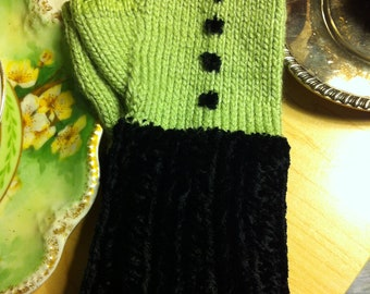 Whimsical Chenille Green and Black Polka Dot Fingerless texting mittens