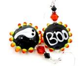 Halloween Earrings, Scary Ghost Earrings, Lampwork Earrings, Orange Black Earrings, Beadwork Earrings, Ghost Earrings, Halloween Jewelry