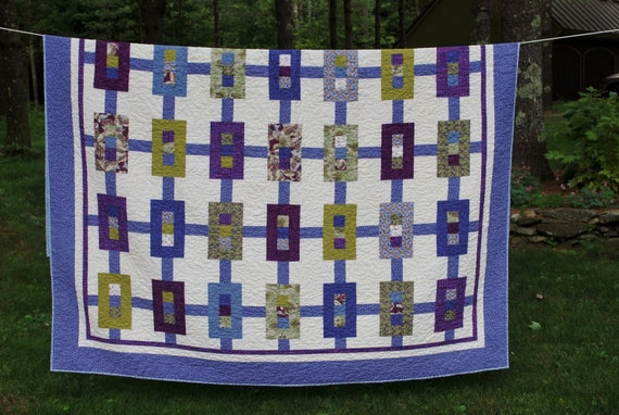 Modern  Double Bed Quilt in blues, greens and purples 78 X 90