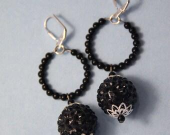 "2"" 1/2 L Black resin rhinestone ball, bead hoop, dangle"