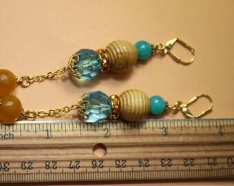 "4"" L Teal color jade stone, yellow agate, tan wood, teal acrylic, dangle, drop earrings"
