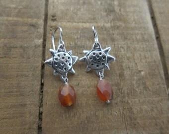 Fine Silver PMC Sunflower Earrings