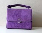 Vintage 60s Purple Suede Purse // Grape Juice Box