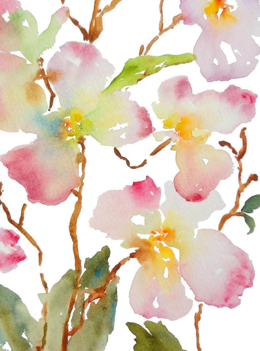 Dogwood Inspiration Watercolor Flowers Fine Art Print 8x10