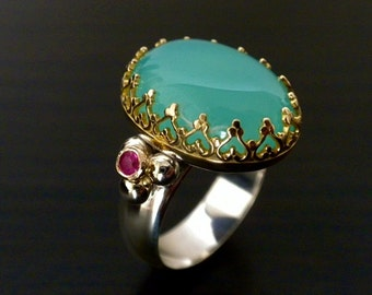 Ready To Ship - Crown Ring With Aqua Colored Chalcedony & Rubies