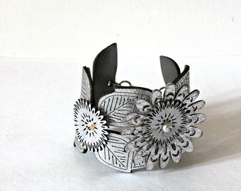 Silver Flower Cuff with Flowers