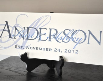 Personalized Family Name Sign Established Plaque Last Name Sign Painted 7x20