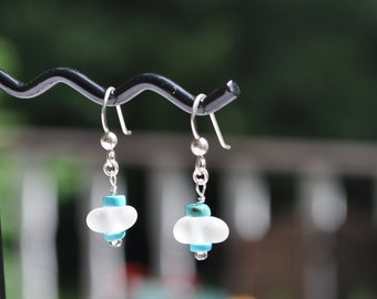 Genuine Sea Glass Frosty White Earrings in Sterling Silver with Turquoise 5167C