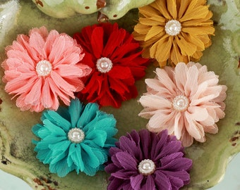 Prima Fabric Flowers: Cabaletta Collection Summer II 561765 Assorted Chiffon Mini Fabric Flowers with pearl center
