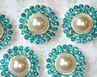 4 pcs - 25mm Silver Plated Metal Turquoise Aquamarine Crystal Pearl Rhinestone Buttons - wedding / hair / garment accessories Flower Center