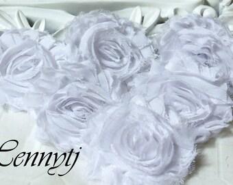 Set of 6 Shabby  Frayed Vintage look Chiffon Rosette Flowers - WHITE
