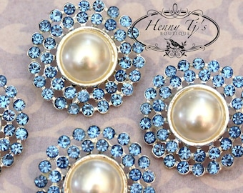 4 pieces - 25mm Silver Metal LIGHT SAPPHIRE Blue Crystal Pearl Rhinestone Buttons - wedding / hair / garment accessories Flower Center