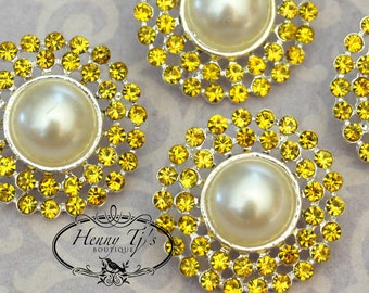 4 pieces - 25mm Silver Plated Metal CITRINE YELLOW Crystal Pearl Rhinestone Buttons - wedding / hair / garment accessories Flower Center