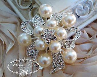 1pc or 2pcs - 55mm LARGE Silver Plated Rhinestones & Crystals with Bow Shaped Ivory Pearl Brooch Pin , Wedding Accessories, Bridal