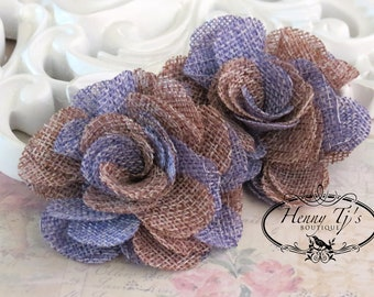 New to the shop: Tattered Treasures Dominique vintage style two tones color flax fabric flowers - Taupe / Lavender