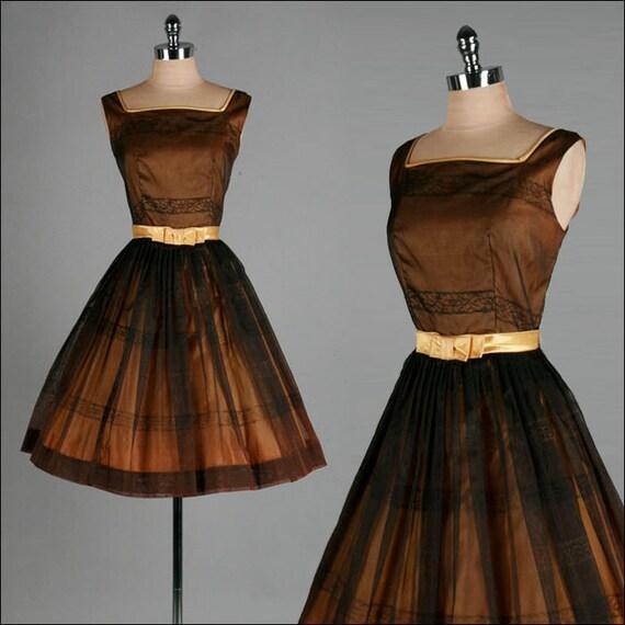 Vintage 1950s Dress . Black Chiffon . Gold . Full Skirt . S/M  . 1749
