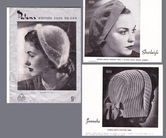 Vintage 1940s Knitting & Crochet Patterns Book Hats ORIGINAL patterns not PDF
