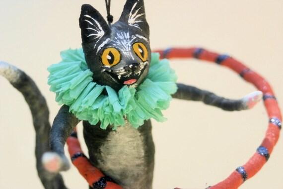 Ooak Spun Cotton Black Cat Hula Hooping Halloween Feather Tree Ornament Decoration