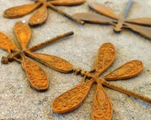 DRAGONFLY pendant charm, Large dragonfly  in a ochre yellow patina 1 pc