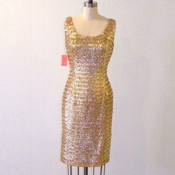 1960s Gold Sequin Cocktail Dress, Vintage 60s Party Wiggle Dress, NOS w Tags Mad Men Bombshell Hourglass VLV Holiday Dress, Marshall Field