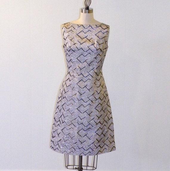 Vintage 60s Dress, 1960s Metallic Silver Lurex Sheath Cocktail Party Dress, Mod Space Age Go-Go Twiggy Dress