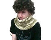 Multicolor Mens Scarf Teen Men Knit Cowl Scarf in Olive, Pine Green, Cream Multicolor - Mens gift under 15 dollar