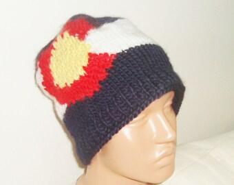 Denver Colorado Flag knit mens beanie hat