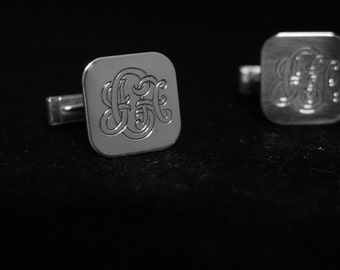 Cufflinks, Monograms, Initials, Sterling Silver, Custom Hand Engraved