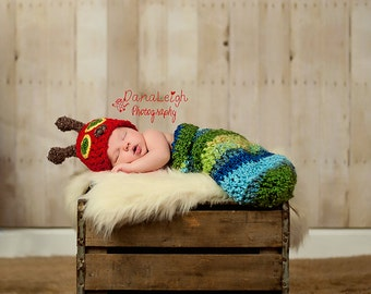 Caterpillar CROCHET PATTERN - Newborn - Photo Prop - Hat and Cocoon - Baby Shower - Photography - Accessory - Toy - Costume