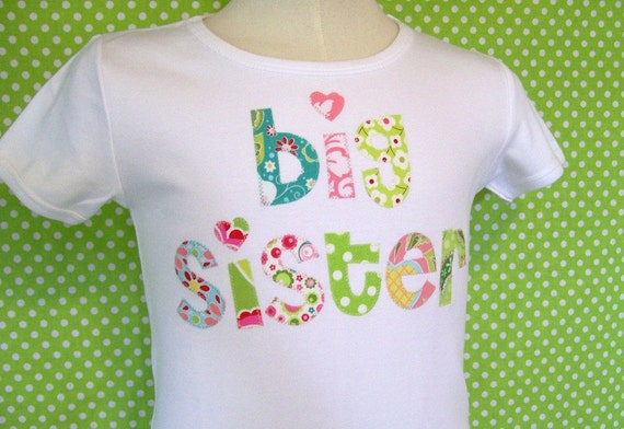 big sister/ big brother little Sister/little brother  appliqued shirt.... choose your fabrics long or short sleeve