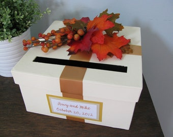 Fall Wedding Card Box,  Bridal Shower Card Box,  Small Intimate Wedding, Autumn Wedding Decor