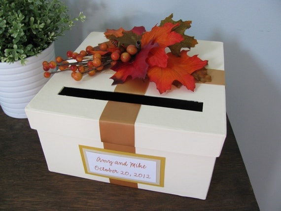 Wedding Card Box Bridal Shower Small Intimate Wedding shown with fall leaves,berries, custom tag, 9 inch