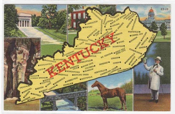 Map of Kentucky Horse multi view 1950s linen postcard